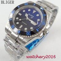 40mm bliger preto azul dial cerâmica moldura de aço inoxidável safira vidro data janela movimento automático relógio pulso