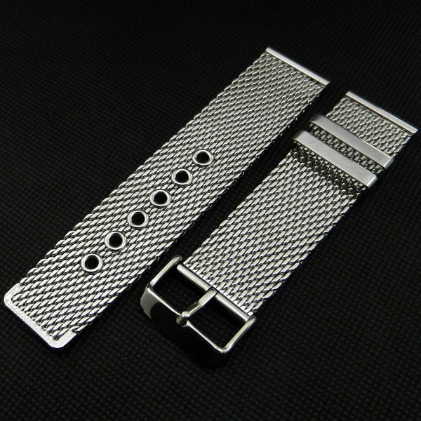 High Quality Silver 24mm Stainless Steel Mesh Watch Band Strap Pin buckle Men Women Replacement GD011524 fabulous stainless steel mesh watch band pin buckle high quality 20 22 24mm watch strap for men women wrist watch replacement