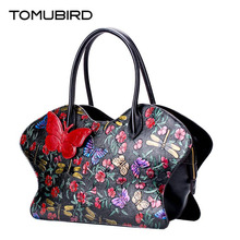 TOMUBIRD new Superior cowhide leather Painting embossed famous brand women bag butterf fashion genuine leather handbags Tote bag