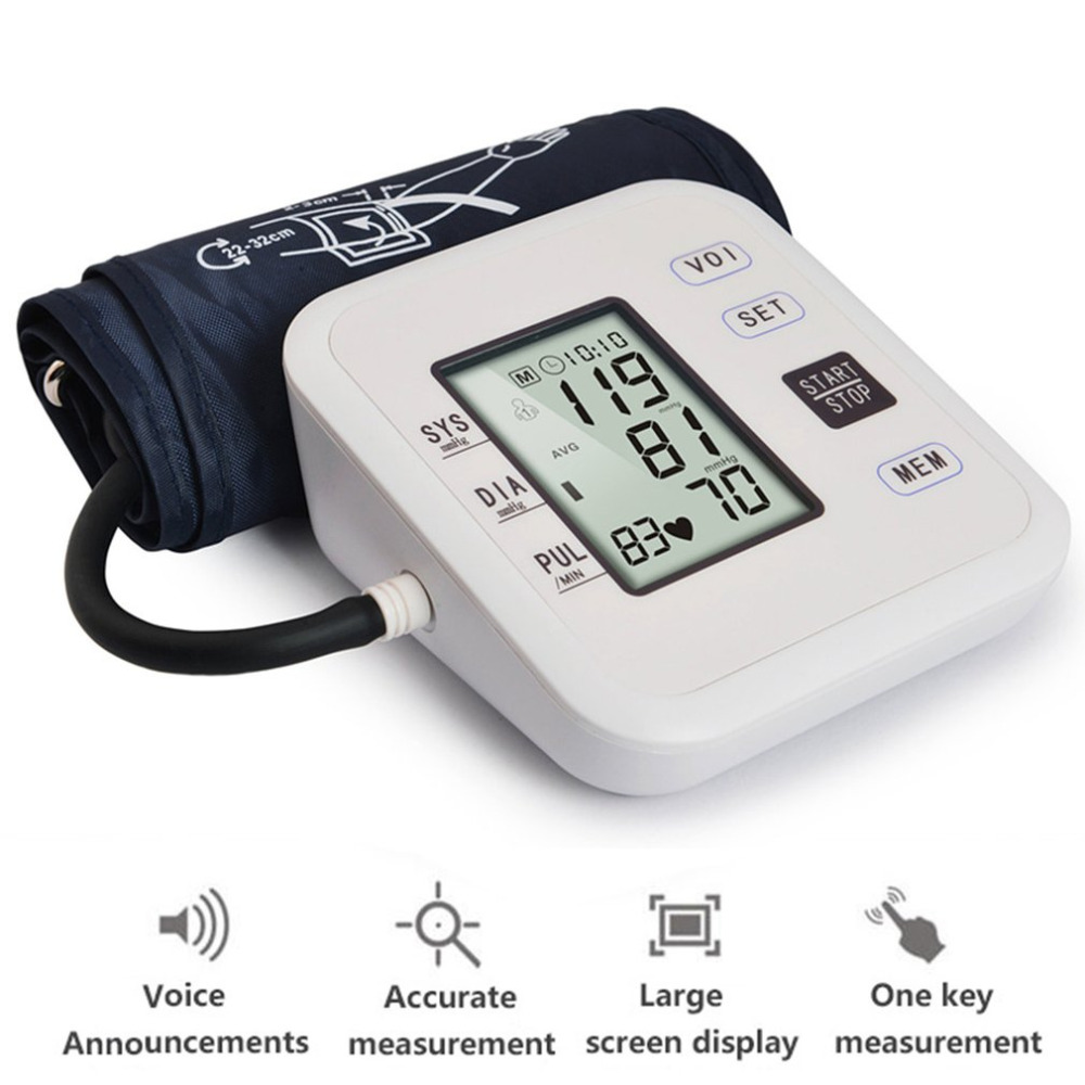 Home Health Care 1pcs Digital Arm Blood Pressure Monitor Set Tonometer Heart Beat Portable Meter for Measuring And Pulse Rate home health care russian voice digital lcd upper arm blood pressure monitor heart beat meter machine tonometer heart rate pulse