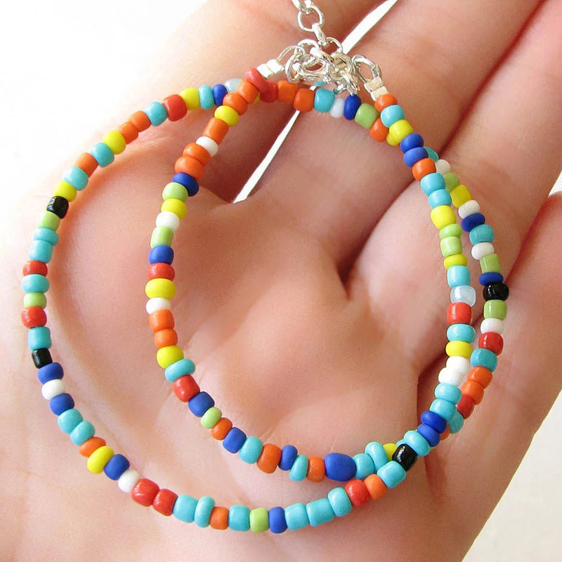 TTLIFE Bohemian Handmade Rainbow Beads Choker Necklace Boho Candy Color Bead Satellite Necklace Women Fashion Jewelry Necklaces in Pendant Necklaces from Jewelry Accessories