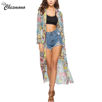 2018 Spring Newest Shirt Dress Women Summer Floral Print Chiffon Striped Single Breasted Party Casual Beach