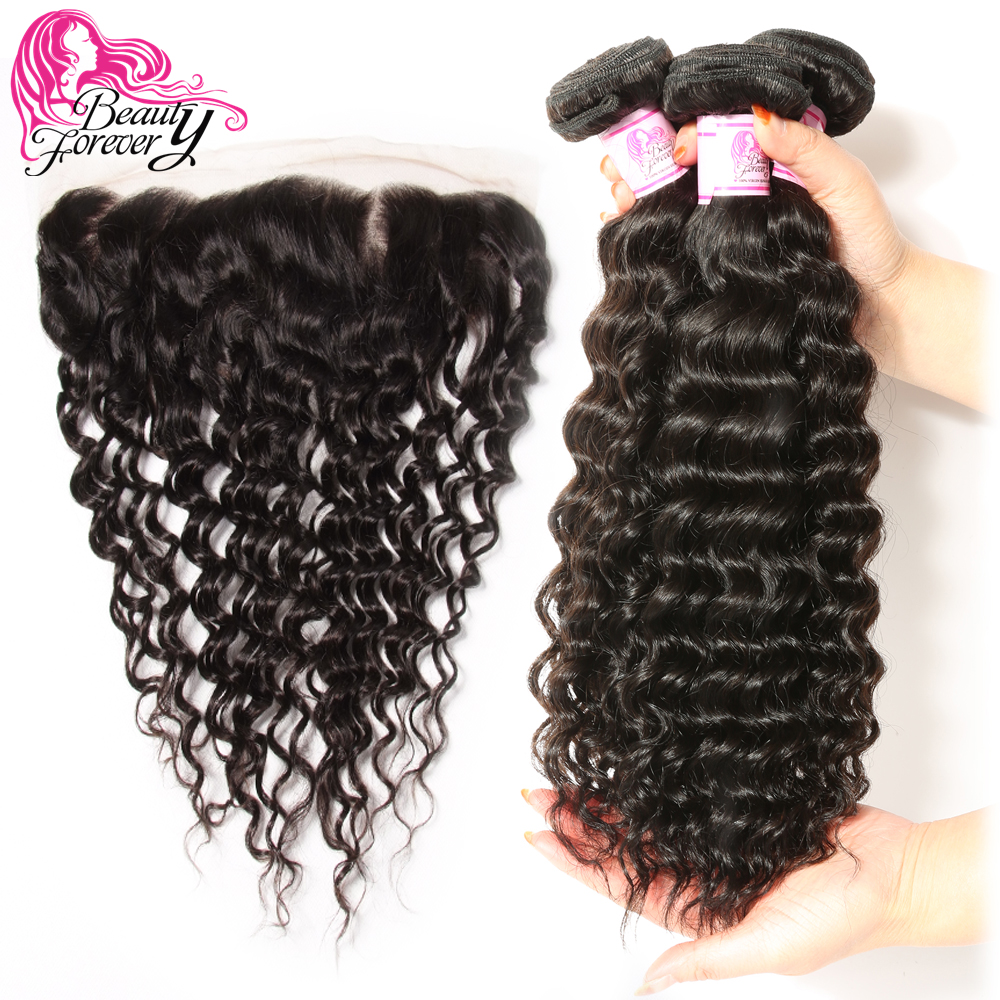 Beauty Forever Brazilian Deep Wave Human Hair 3 Bundles With Lace Frontal Closure 13 4 Free