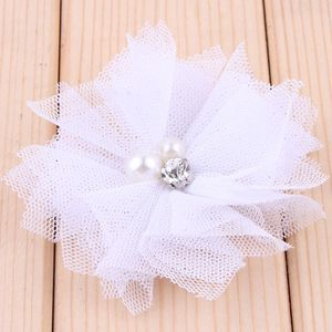 Image 5 - 120pcs/lot 6.5cm 18colors DIY Soft Chic Mesh Hair Flowers With Rhinestones+Pearls Artificial Fabric Flowers For Kids Headbands