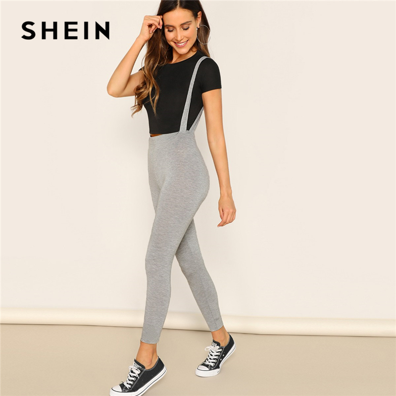 SHEIN Heathered Gray   Leggings   With Strap Spring Women High Waist Skinny 2019 Athleisure Casual Streetwear Workout   Leggings