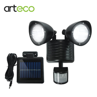 LED Solar Light 22LEDs Dual Head PIR Motion Sensor Out Door Waterproof Security Spotlight Wall Light