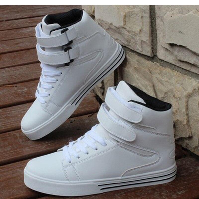Tablero de arriba Hombre Estudiante de Para Rojo Casuales de 2016 Los Loop Botas del Altos Encaje Negro Zapatos Hombres Hook Cuero Tops amp; PU Blanco Zapatos 6Pgw8