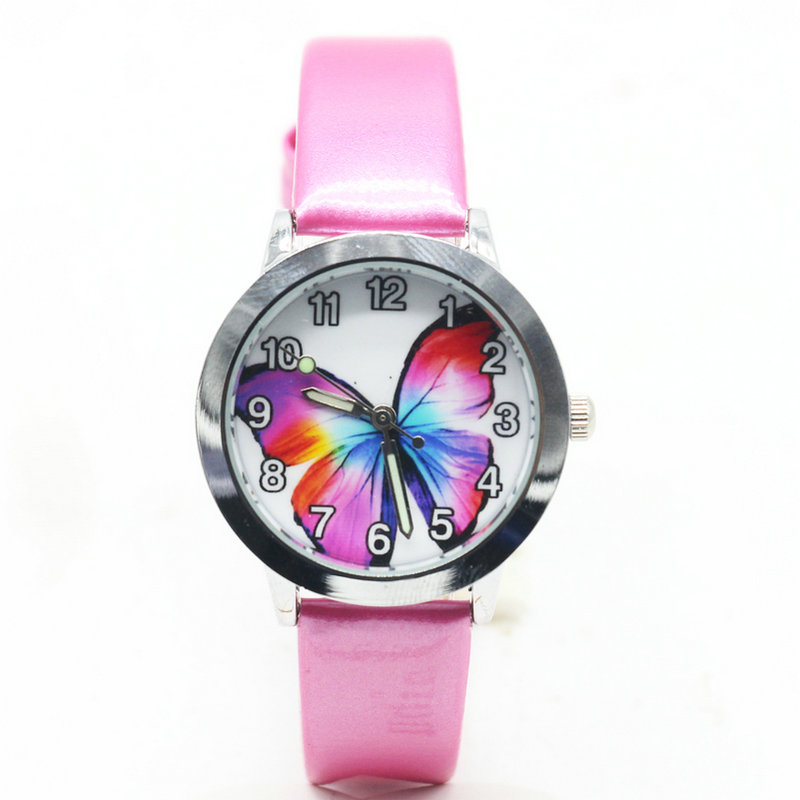 2018 Fashion Women Girl Dress Bracelet Watch Quarzt Clock Butterfly Style Leather Band Analog Quartz Wrist Kids Watch