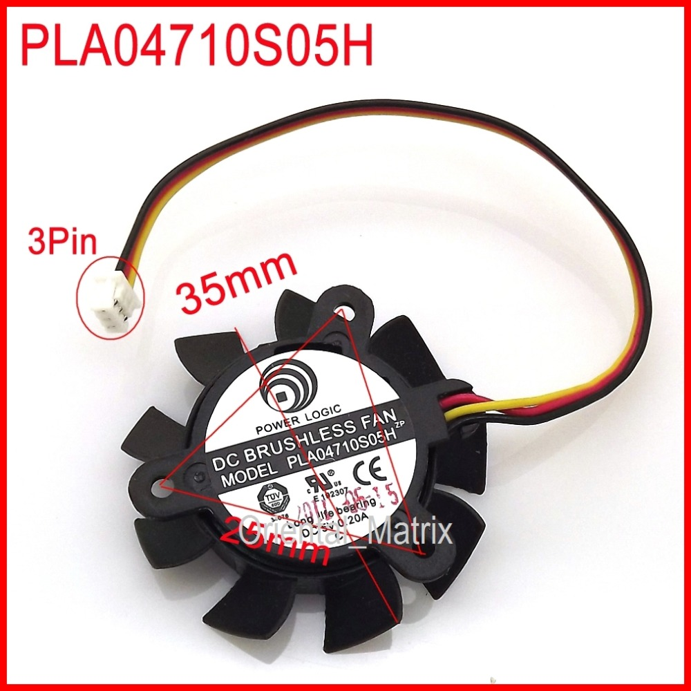 Free Shipping POWER LOGIC PLA04710S05H DC 5V 0.20A 35mm 25x25x25mm 4010 Graphics Card Cooling Fan 3Pin 3Wire