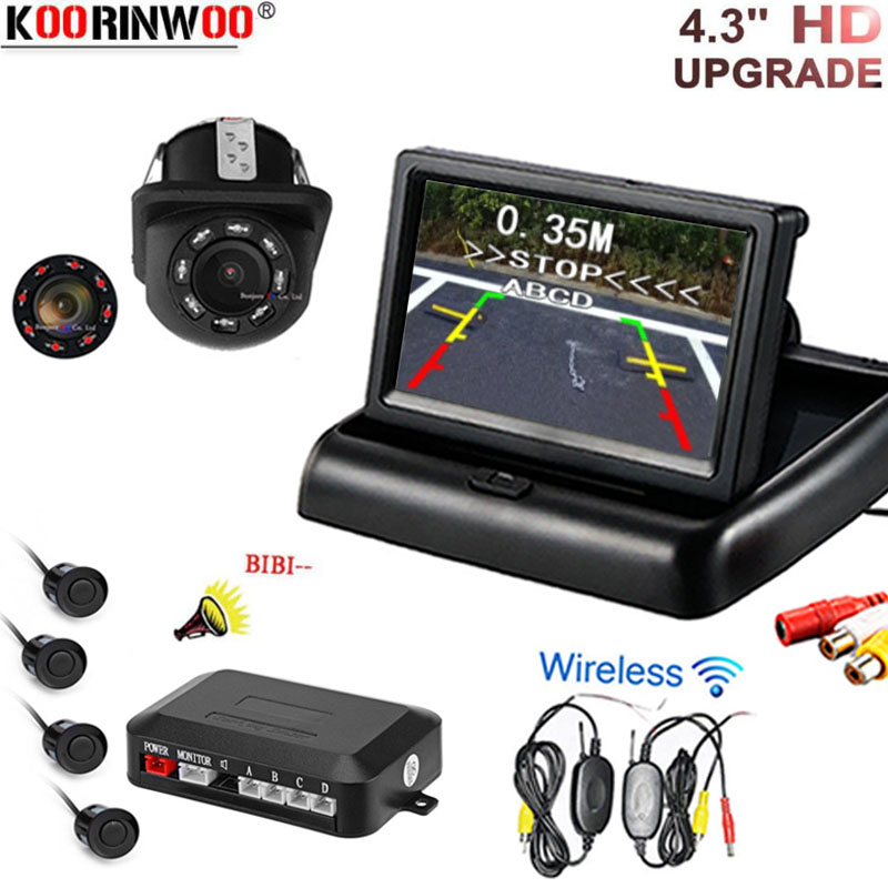 Koorinwoo 2.4 グラムワイヤレス車ビデオカメラ駐車支援レーダー 4.3 インチ車折りたたみモニター + バックミラーカメラ + パーキングセンサー  グループ上の 自動車 &バイク からの パーキングセンサー の中 1