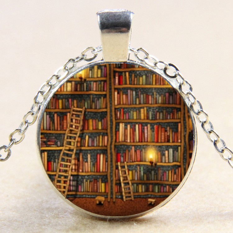 Library Books Glass pendant, Books necklace Birthday Gift For Students Teachers And Librarians Necklace drop shopping YLQ0701