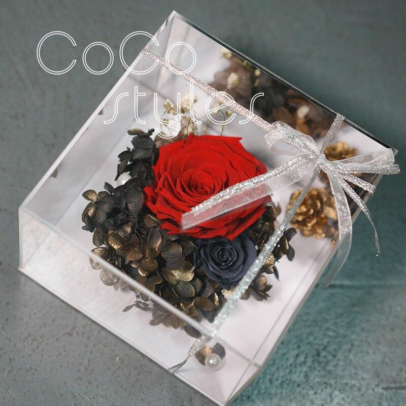 Cocostyles personnalisé blanc élégant argent miroir acrylique frais maison boîte pour fête de mariage événement cadeau faveur boîte