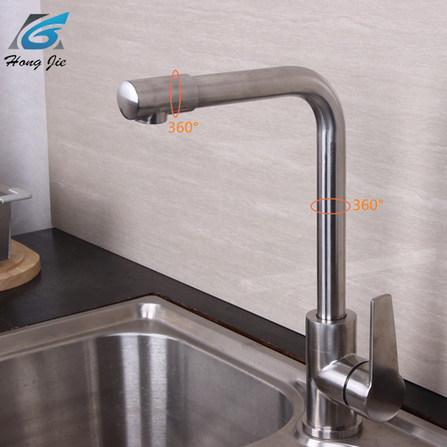 Stainless Steel Kitchen Faucet 360 Degree Faucet Single Hole Mixer