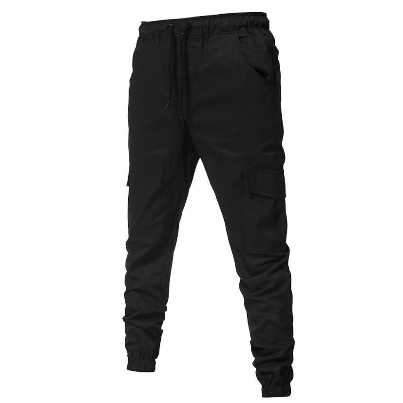 HTB1jzWlkljTBKNjSZFNq6ysFXXa4 Men's Pants 2018 Fashion Men's Pure Color Bandage Casual Loose Sweatpants Drawstring Pant       july22