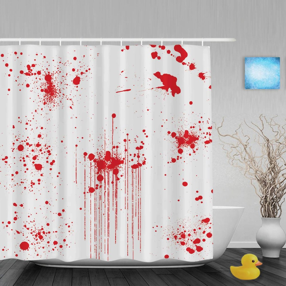 Halloween shower curtain hooks - Various Blood Paint Splatters Bathroom Shower Curtains Halloween Decor Shower Curtain Waterproof Polyester Fabric With Hooks
