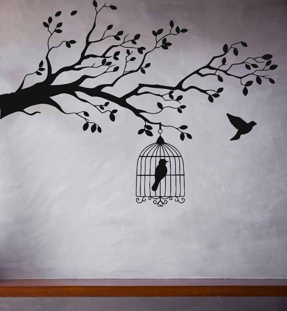Caged Bird Tree Branch Wall Stickers Vinyl