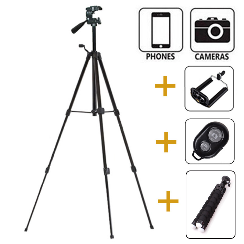 Cell Phone Holder Mount Camera Tripod with Accessories: 1pcs Mobile Phone Holder Clip + 1pcs Bluetooth Remote Controller