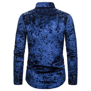Image 2 - Royal Blue Velvet Velour Shirt Mannen 2019 Herfst Nieuwe Slim Fit Lange Mouw Heren Dress Shirts Casual Button Down Chemise homme
