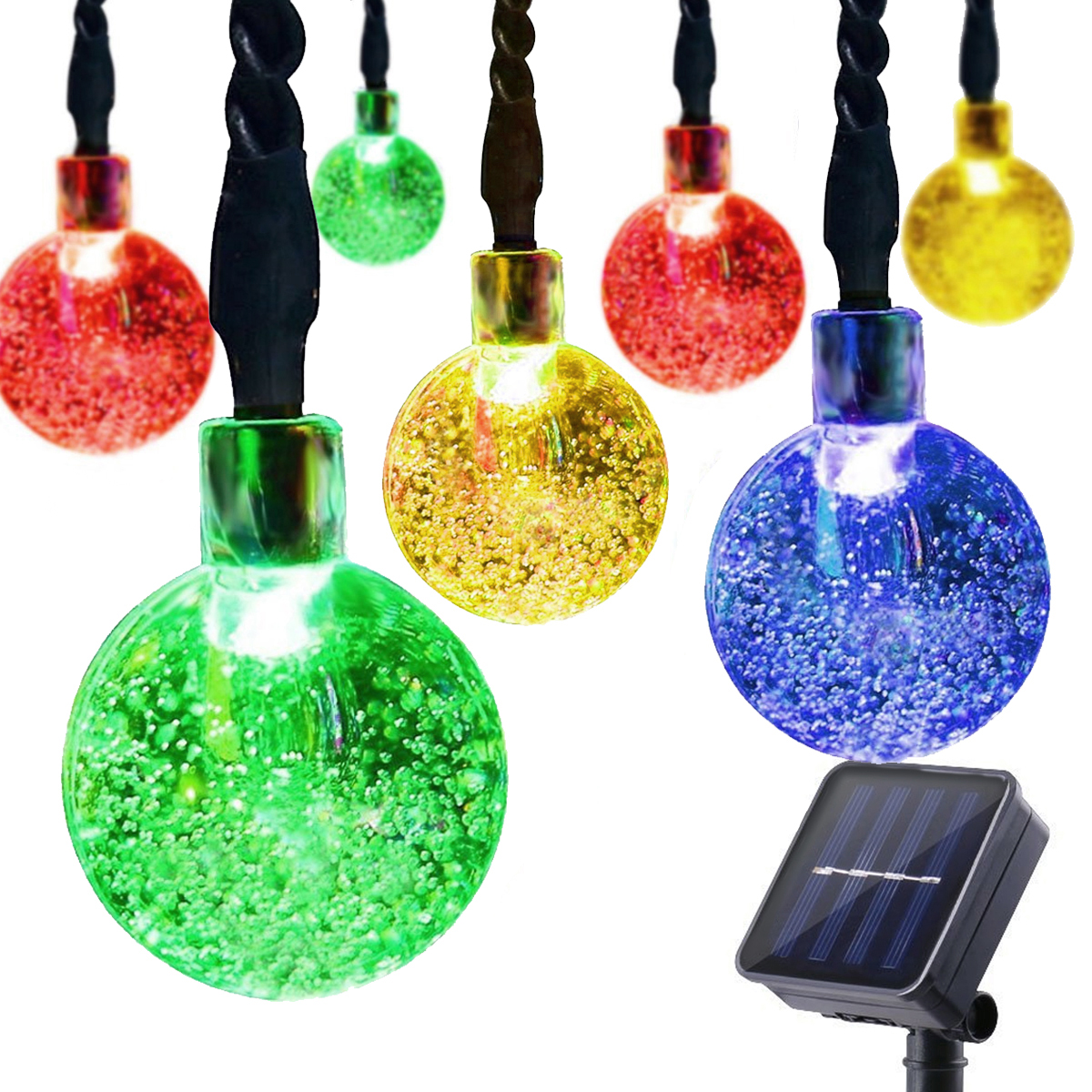 Dcoo Solar String Lights Globe Ball 30 LED Lighting Sloar Powered String Party Outdoor Lights String Wedding Decoration Colorful