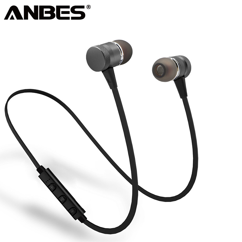 ANBES Wireless Bluetooth Earphones Metal Magnetic M98 Headphone Stereo Super Bass Sport Running Headsets Earbuds With Microphone rs 01 magnetic movement running stereo mini wireless bluetooth headphone