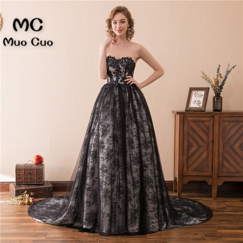 Vintage 2018 Black Prom Dresses for Women Vestidos de fiesta Count Train Lace Up Back Sweetheart Formal Evening Dress Long