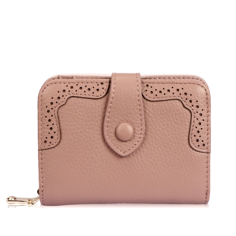 Hot Sell 2017 New Vintage Genuine Leather Women Hollow Out Wallets Female Bifold Women's Wallet Zipper Design With Coin Purse P stylish women s pumps with patent leather and hollow out design