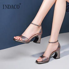 Women Sandals 2019 New Fish Mouth Color Cowhide High Heel Thick Summer Party Shoes