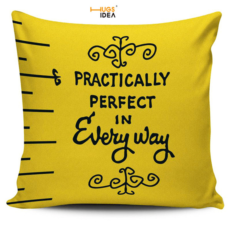 HUGSIDEA Mary Poppins Measuring Tape Throw Cushion Cover Square Cozy Pillow Cover Decoration Home Sofa Seat Pillows Pillowcase