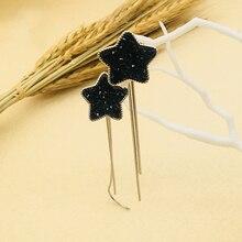 Fashion Bohemian Black Rhinestone Tassel Earrings Vintage Earrings Jewelry Cute Geometric Star Dangle Earring For Women Girl a suit of cute rhinestone geometric earrings for women