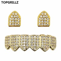 TOPGRILLZ Hip Hop Jewelry New Cuatom Fit Gold Silver Color All Iced Out Copper Micro Pave