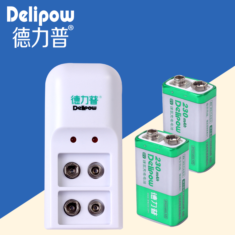 Delipow 9V rechargeable high-capacity 9V battery charger kit microphone battery 1+2 shipping Rechargeable Li-ion Cell delipow lithium iron phosphate battery charger charger for 1450010440 3 7v 18650 rechargeable li ion cell