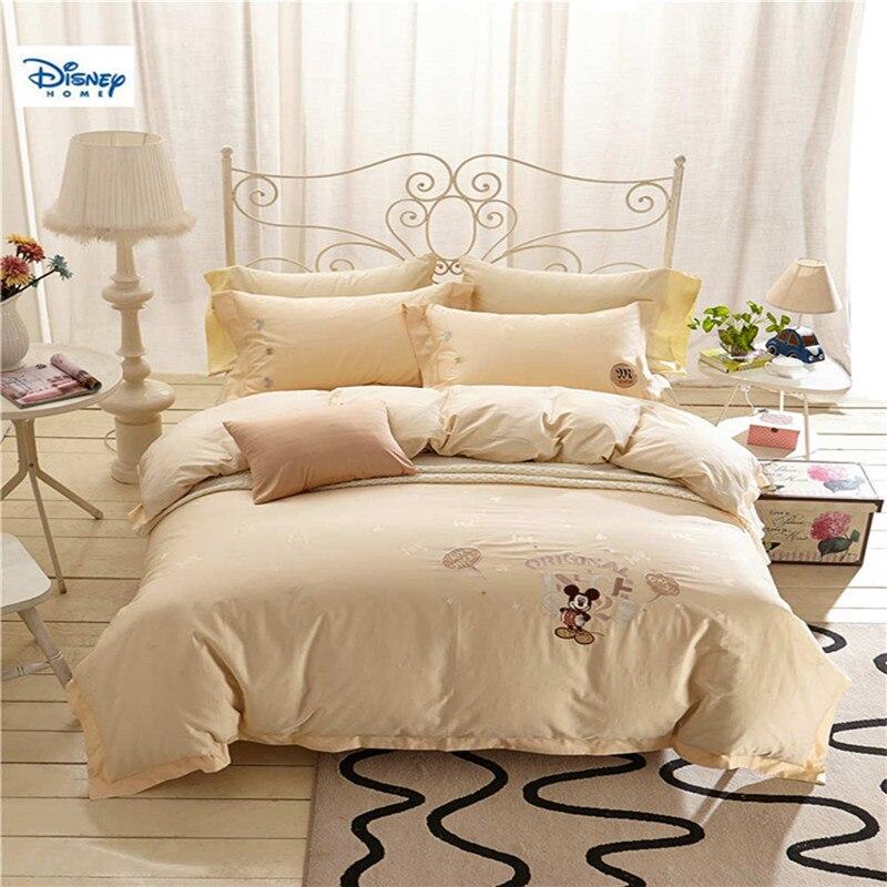 Микки Маус покрывала комплект Королева Размер для девочек спал египетского хлопка постельных принадлежностей полный покрывала 4/5 шт Белос...