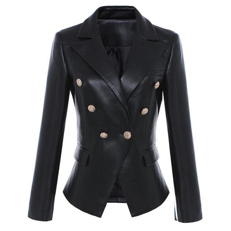 Noir Ol Étoiles En Pleine Femmes Métal Cuir Synthétique Double Vert Boutonnage Style Lion Manches Blazer Vestes Bouton 1dccWrz