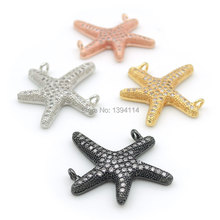22*22*3 мм микро проложить прозрачный CZ Морская звезда Шарм двойные петли подходит для изготовления ожерелья ювелирные изделия