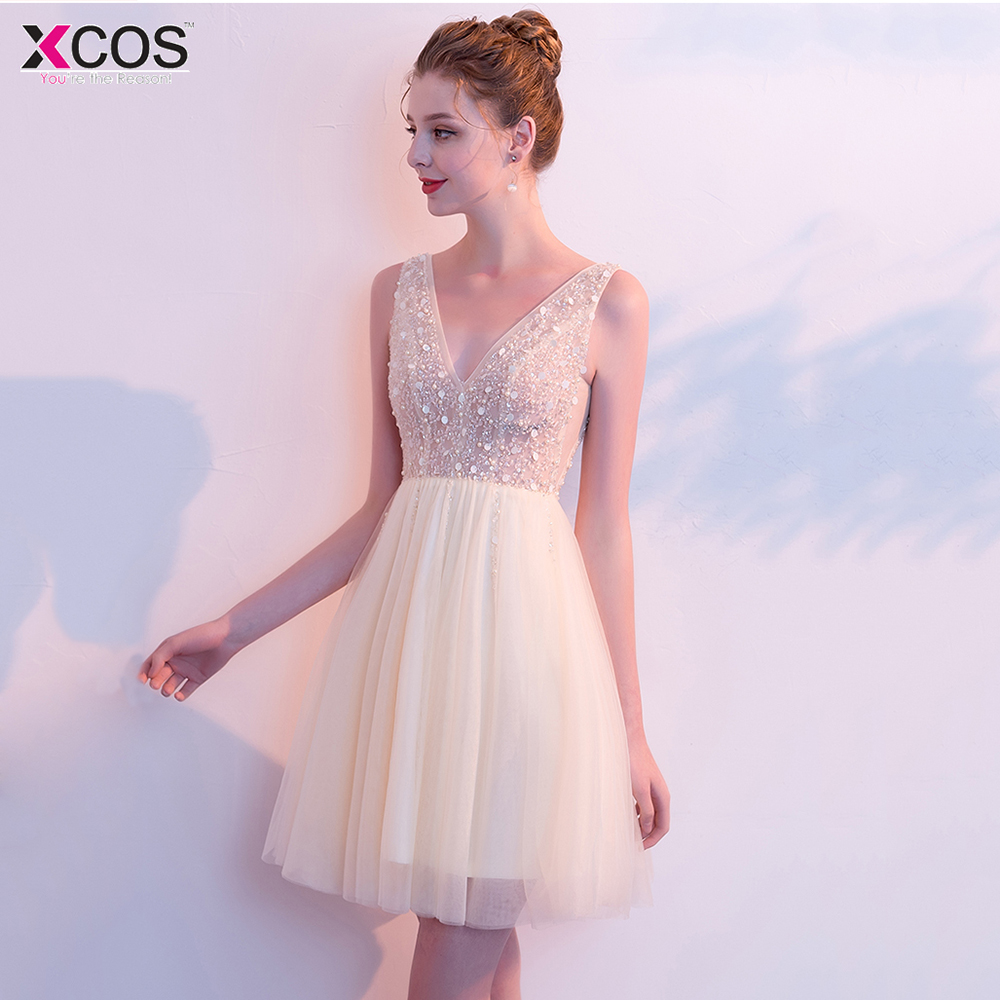 Champagne Gold   Cocktail     Dresses   Cute Women 2018 Sleeveless Beaded Short Vestidos Plus Size Sexy Homecoming   Cocktail     Dresses