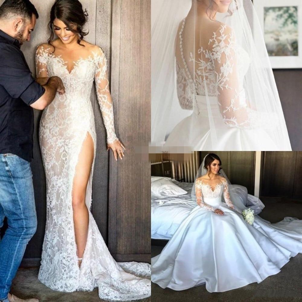 Sexy Illusion Appliques Lace Mermaid Wedding Dresses Long Sleeve Scoop Detachable Train Bride Dress Custom Vestido