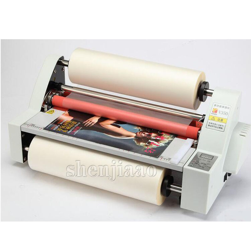 V350 film roll laminator A3 size Four Rollers Hot Roll Laminating Machine electronic temperature control single 220v 1pc