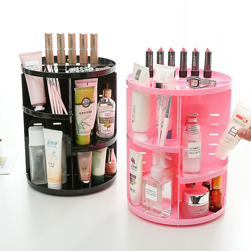 Makeup Organizer 360 Degree Rotating Multi-Function Cosmetic Storage Box Plastic Make Up Case Jewelry Brush Lipstick Holder