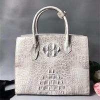 Classical Designer Real Crocodile Skin Alligator Leather Female White Totes Solid Handbag Ladies Women's Large Shoulder Bag
