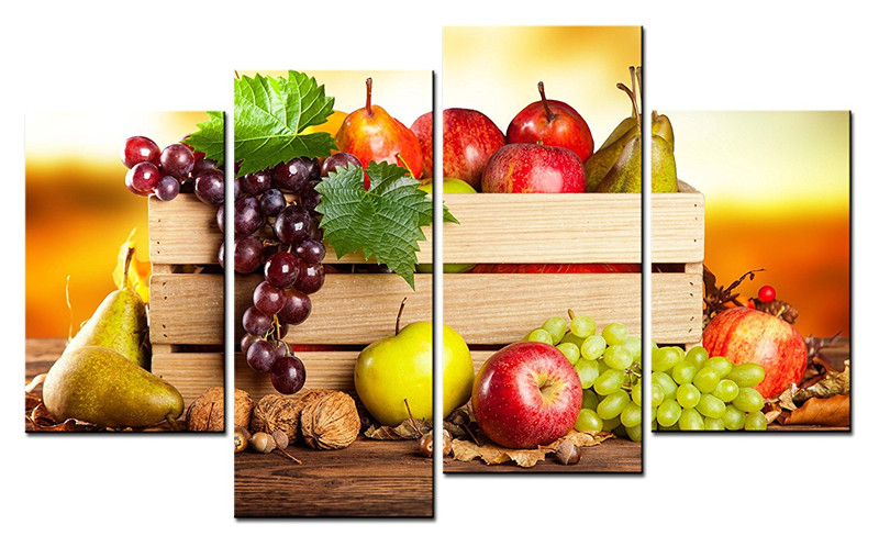 4 panels paintings for the kitchen fruit wall decor modern canvas art wall pictures for living. Black Bedroom Furniture Sets. Home Design Ideas