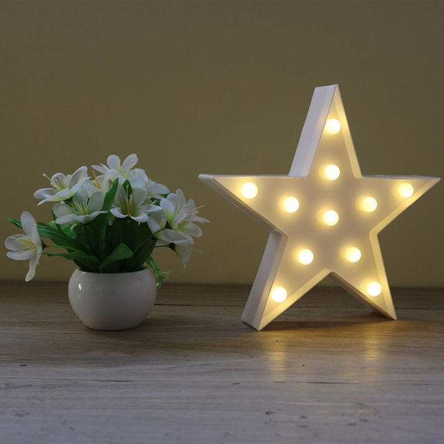 Dec Letter Night Light Star Shape Led Plastic Battery Novelty Creative Alphabet Molding Lamp Box Letters