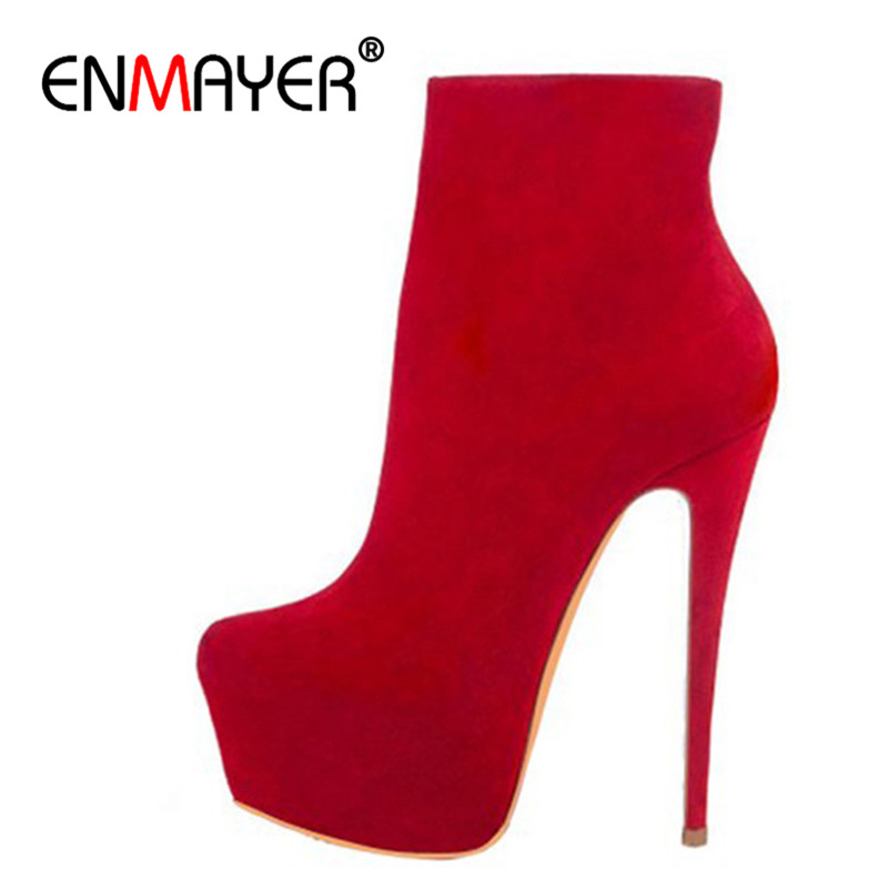 ENMAYER Women Shoes 2018 Extrme High Heels Round Toe Platform Shoes Ankle Boots for Women Plus Size 35-46 Winter Shoes