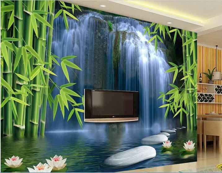 3d обои на заказ Фото Фреска картинка нетканого стикер 3 D Bamboo Весна Картина 3d стены комнаты фрески обои