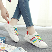 2017 women shoes waterproof PU leather summer cool mixed candy colors rainbow girls shoes flat heel lace up white green 35-40