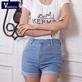 2016 nova moda das mulheres cintura alta Jeans verão Stretch Shorts Jeans Slim coreano Casual mulheres Shorts Jeans quentes Plus Size