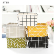 SYTH Linen Fabric Clothes Storage Box dengan Pemegang Folding Sundries Toy Storage Basket Closet Organizer Household Sundries