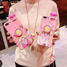 3D Cute Pink Sailor Moon Case for OPPO R 17 11 9 S Plus F 5 9 A 83 37 57 59 71 77 73 79 Cartoon Toys Wrist Strap Soft TPU Cover(China)