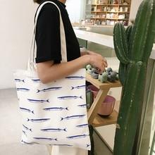 YILE Zipper White Cotton Canvas Eco Shopping Tote Shoulder Bag Printed Sea Long Blue Fish