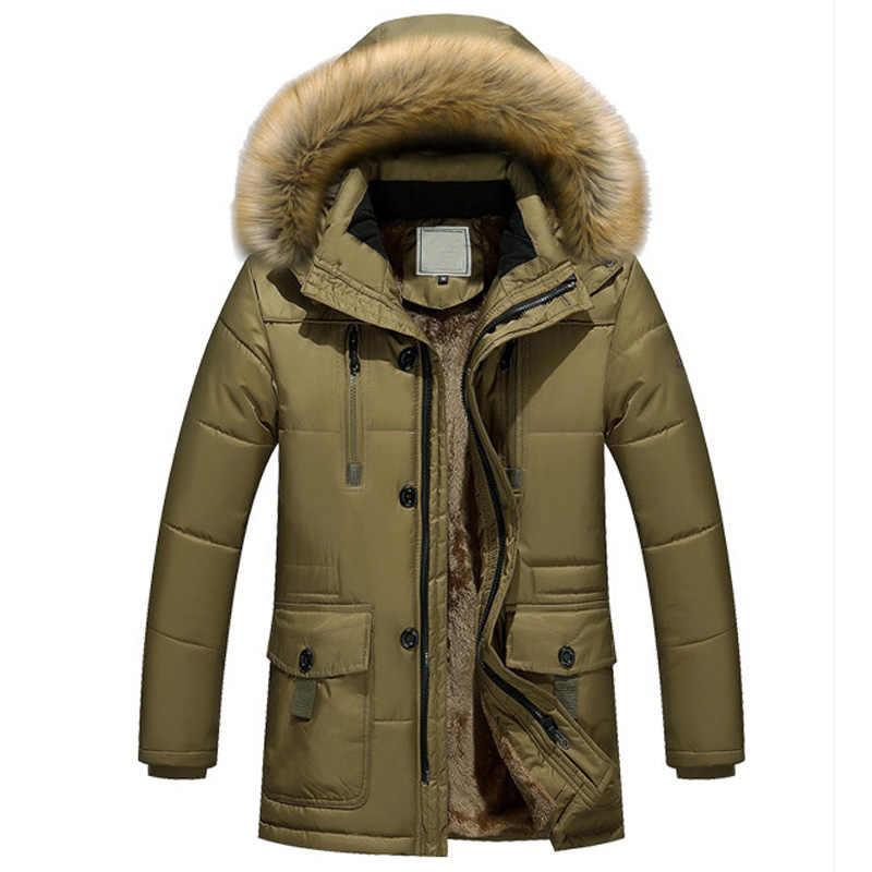 ... Новая брендовая одежда зимняя куртка мужская модная зимняя парка мужская  с меховым капюшоном повседневные теплые мужские ... fe196b62194