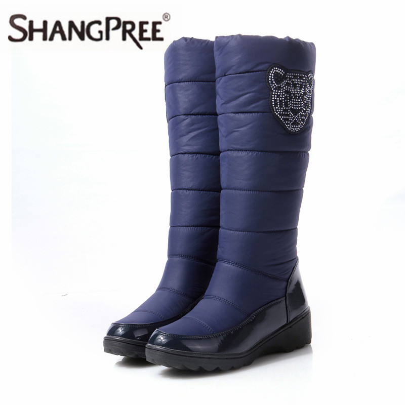 Hot sale Size 35-44 2017 Fashion Mid-Calf waterproof Ladies snow boots Women high boots flat winter boots fur shoes women Boots new hot sale shoes women snow boots flat shoes fashion matte slip on mid calf autumn winter boots female height increasing shoes